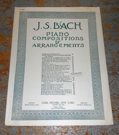 Vintage Music Sheets J.S. Bach  Piano Old Music by TheBackShak, $5.00