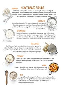 Your Guide To Gluten Free Flours: Heavy Flours