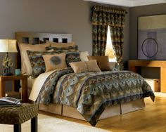 Croscill Home Fashions Queen Size Dakota Comforter Set, Topaz, 4-Piece by Crocsill. $299.99. 100-percent polyester chenille comforter. Dry clean only. The comforter top coordinates directly with the shams. Complete the ensemble with a variety of Dakota decorative pillow options all with a southwest flair in accentuating fabrics. Queen set includes 1 comforter, 1 bed skirt and 2 king-size shams. Surround yourself with the tranquility of the desert with the Dakota comforter ens...