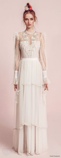 lior charchy spring 2017 bridal long sleeves illusion high neck sweetheart neck heavily embellished bodice layered skirt retro bohemian a line wedding dress (2) mv -- Lior Charchy Spring 2017 Wedding Dresses