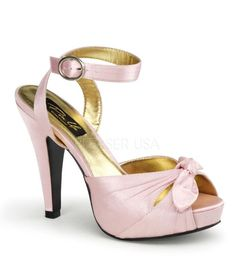Pinup Couture Bettie Pink Satin Platforms