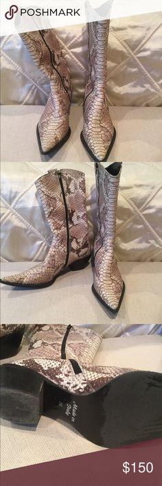 Snakeskin cowboy boots Amazing snakeskin cowboy boots! European import. Very stylish! Shoes Heeled Boots