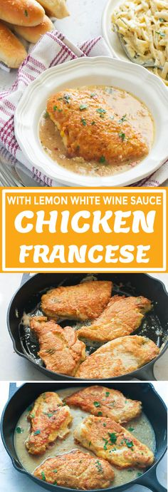 Chicken Francese - Immaculate Bites #recipe #easyrecipes #lemon #chickenrecipes #dinnerrecipes Healthy Turkey Recipes, Yummy Chicken Recipes, Yum Yum Chicken, Pan Fried Chicken, How To Cook Chicken, Lemon White Wine Sauce, American Dishes, Duck Recipes, Good Food