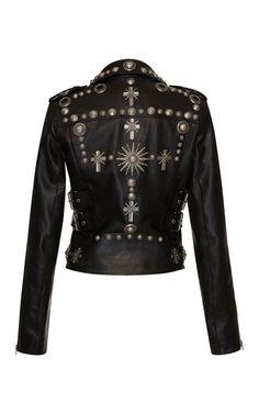 Leather Biker Jacket by Fausto Puglisi for Preorder on Moda Operandi