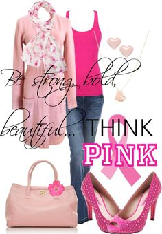 """""""Think Pink"""" by jenniemitchell ❤ liked on Polyvore"""