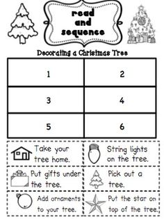 Sequencing practice with Christmas Tree Decorating (free!!)
