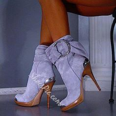Suede Side Buckle High Heel Boots; Boots for autumn