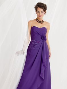 Bridesmaid Zoe's possible dress. The two girls are having similar rather than matching dresses to suit their differing tastes/figures, yet in the same colour to keep the look unified. This dress is model 12051 & is £155 from: http://www.purplebridesmaid.co.uk/12051