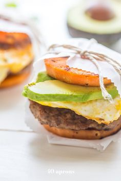 These Whole30 breakfast sandwiches are easy and so good. Sweet potato buns with Whole30 breakfast sausage, fried egg, and avocado or chipotle aioli. Epic! Whole30 Breakfast Sausage, Sweet Potato Buns, Chipotle Aioli, Whole 30 Breakfast, Breakfast Sandwiches, Clarified Butter, Mayonnaise, Salmon Burgers, Hamburger