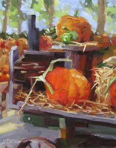 "Daily Paintworks - ""Pumpkin Patch"" - Original Fine Art for Sale - © Karen Werner"