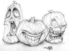 halloween drawings Jack o lantern trio drawing Sketch Art, Drawing Sketches, Pencil Drawings, Art Drawings, Drawing Ideas, Drawing Drawing, Drawing Pictures, Tattoo Sketches, Figure Drawing