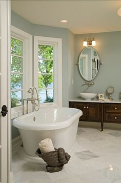 Bathroom. Beautiful Bathroom Design. #BathroomDesign #Bathroom Paint Color: Benjamin Moore Slate Blue 1648