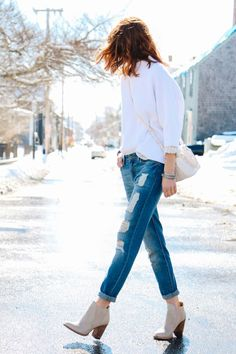 distressed boyfriend jeans, DL1961 nolita in tawny, french connection rib sweater, white sweater, spring neutrals, neutral ankle boots, red hair