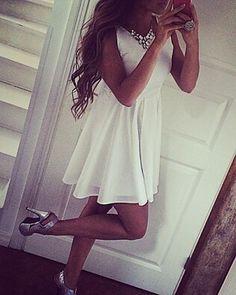 white prom dress #prom #evening #dress