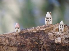 Tiny rustic ceramic forest house miniature little cottage in a color of your choice