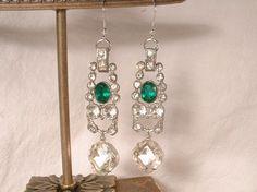 Art Deco Emerald Green & Clear Rhinestone Sterling Silver Dangle Earrings, Vintage Long Drop Bridal Statement 1920s Gatsby Flapper  by AmoreTreasure on Etsy