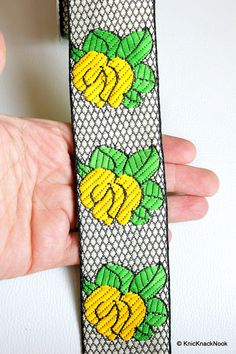 Black And White Lace With Yellow Rose And Green by KnicKnackNook