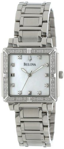 Women's Wrist Watches - Bulova Womens 96R107 Stainless Steel and MotherofPearl DiamondAccented Watch * Check out the image by visiting the link. (This is an Amazon affiliate link)