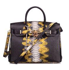 Ainifeel Women's Python Embossed Padlock Genuine Leather Shoulder Bag Hobo Bag Purse *** Awesome product. Click the image : Shoulder Handbags