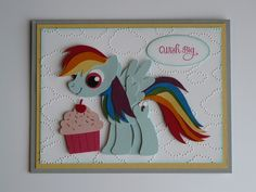 My Little Pony Rainbow Dash Birthday card (2016). Colors used are Smoky Slate, So Saffron, Soft Sky, Real Red, Pumpkin Pie, Daffodil Delight, Garden Green, Pacific Point, Rich Razzleberry, Melon Mambo (for the eyes and bottom of cupcake), and Pink Pirouette (for top of cupcake).