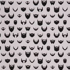 grey Caleb Gray retro fabric from the USA with different beards