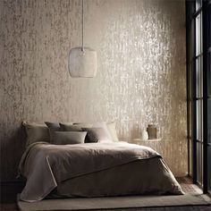 51 New Ideas For Bedroom Wallpaper Accent Wall Grey Dining Rooms Bedroom Wallpaper Accent Wall, Wall Wallpaper, Flock Wallpaper, Bedroom Colors, Bedroom Decor, Wall Paper Bedroom, Accent Wall Designs, Earthy Home Decor, Diy Zimmer