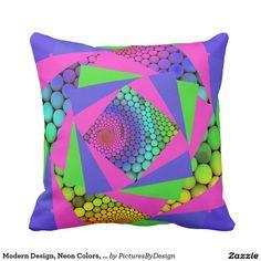 Modern Design, Neon Colors, Op Art Throw Pillow