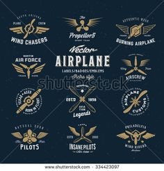 Vintage Vector Airplane Labels Set with Retro Typography. Shabby Texture on Blue Background.