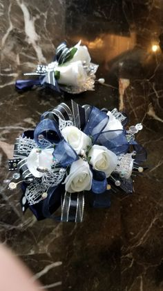 Royal blue and black prim corsage set from Hen House Designs.net