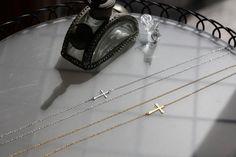 LONG Sideways Cross Necklace Silver  Cross Necklace  by Bijjou, $20.00