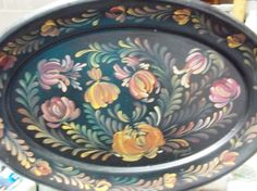 A Large Metal Tray Painted Black Hand Painted by FolkArtByNancy