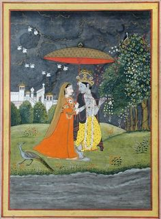 A Kangra style Indian miniature painted with Radha and Krishna