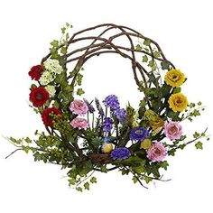 Nearly Natural 4988 Spring Floral Wreath- 22-Inch #NearlyNatural