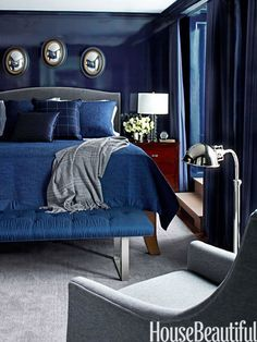 Boy's Room: The son's room is a spin on menswear, with Ralph Lauren's Burke wool, from Kravet, on Hickory Chair's Chelsea bed.