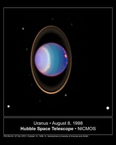 "Uranus has rings. William Herschel, the planet's discoverer, noted a ring in 1787. As others didn't, people thought it was a mistake. Yet Herschel was a first class observer and telescope maker, and he may have been lucky with the observing conditions, so the jury is still out. But there's no mistake about the rings in this infrared image. (Photo: E. Karkoschka et al.) ©Mona Evans, ""10 Amazing Facts about the Solar System"" http://www.bellaonline.com/articles/art33026.asp"