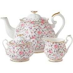 Royal Albert Rose Confetti 3-Piece Tea Set (475 BRL) ❤ liked on Polyvore featuring home, kitchen & dining, teapots, kitchen, decor, fillers, other, no color, royal albert tea pot and bone china