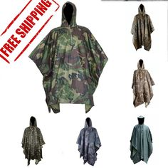 Multifunctional Outdoor Military Travel Camouflage Raincoat Poncho Backpack Rain Cover Waterproof Tent Mat Awning Mountaineering Climbing Hunting Cycling Camping Hiking