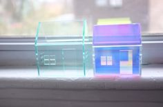 Set of 2 acrylic houses in different sizes and colors. $70.00, via Etsy.