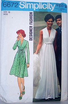Simplicity 6672 Vintage 70's Sewing Pattern Princess seamed Long or short Flowing Designer Fashion ~ who remembers Simplicity patterns?!