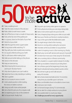 50 Ways to be more active