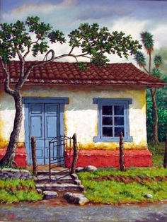Discover recipes, home ideas, style inspiration and other ideas to try. Haitian Art, Naive Art, Mexican Art, Pastel Art, Pictures To Paint, Little Houses, Beautiful Paintings, Painting Inspiration, Painted Rocks