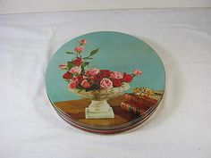 Vintage Chocolate CANDY TIN Pink Red ROSES storage!  by LavenderGardenCottage etsy