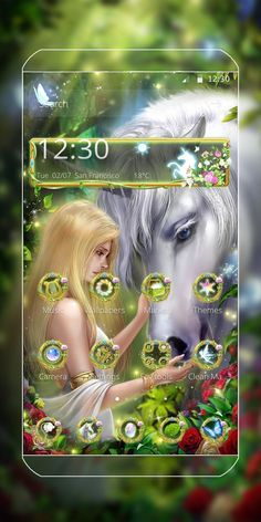 Love this theme with green trees, flowers, unicorn and the beautiful fairy! Blue Roses Wallpaper, Android Theme, Cute Themes, Phone Themes, Beautiful Fairies, Floral Theme, Pink Butterfly, Green Trees, Unicorn