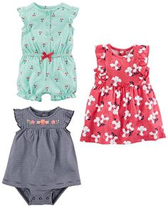 a1b04b17be Amazon.com  Simple Joys by Carter s Baby Girls  3-Pack Romper