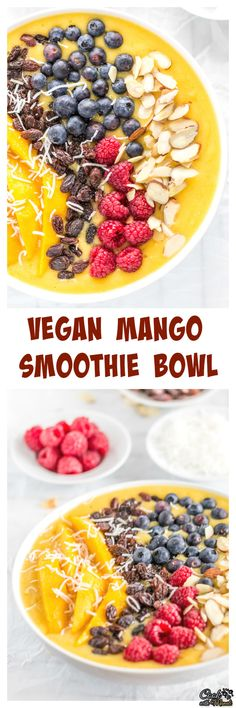 Kick start your day with this delicious and healthy Mango Smoothie Bowl topped with raisins, berries, shredded coconut and sliced almonds! It is also vegan. #ad #smoothiebowl #smoothie #mango #breakfast #vegan