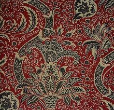 Indian Linen Fabric An archive design with inspiration taken from an 18th century indienne design in red and black
