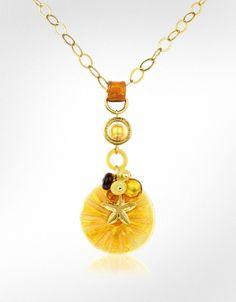 Antica Murrina Pasha - Starfish and Murano Glass Flower Pendant Necklace