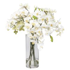 Silk flower arrangements. White Orchids in Glass Vase - Ethan Allen US