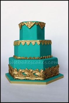 turquoise and gold wedding cake - Google Search
