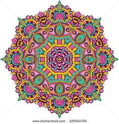 Ornament color card with mandala. Circle Mandala, Mandala Doodle, Circle Art, Flower Mandala, Coloured Mandala, Mandala Artwork, Mandala Painting, Motif Vintage, Vintage Patterns